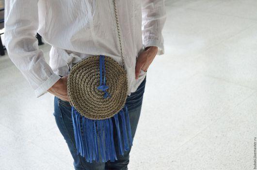 Женские сумки ручной работы. Ярмарка Мастеров - ручная работа. Купить Сумочка. Handmade. Серый, женская сумка, льняной шнур