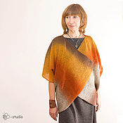 Одежда handmade. Livemaster - original item Knitted cardigan Amber from County Wool Cape for women. Handmade.