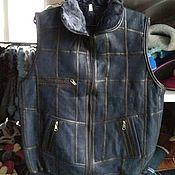 Одежда handmade. Livemaster - original item Men`s leather vest made of sheepskin. Handmade.