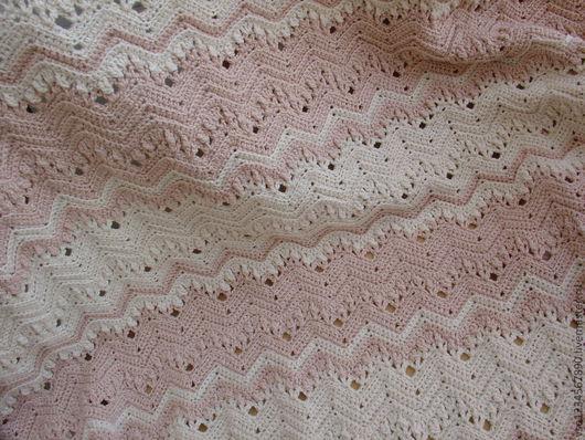 """Текстиль, ковры ручной работы. Ярмарка Мастеров - ручная работа. Купить Плед """"Зефир бело-розовый"""". Handmade. Бледно-розовый"""