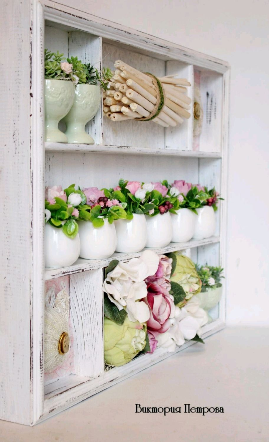 Shelf on the wall shabby chic with Parfait filling, Shelves, Barnaul,  Фото №1
