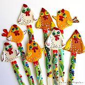 Цветы и флористика ручной работы. Ярмарка Мастеров - ручная работа украшение из стекла, фьюзинг Петушки на палочке. Handmade.
