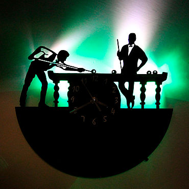 For home and interior handmade. Livemaster - original item Wall clock with led light from the plate Billiards. Handmade.