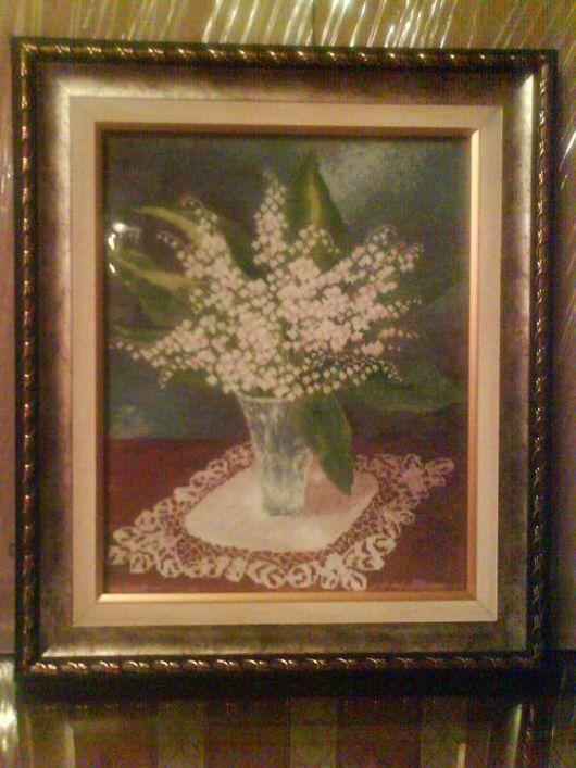Картины цветов ручной работы. Ярмарка Мастеров - ручная работа. Купить Ландыши. Handmade. Мулине, канва, нитки