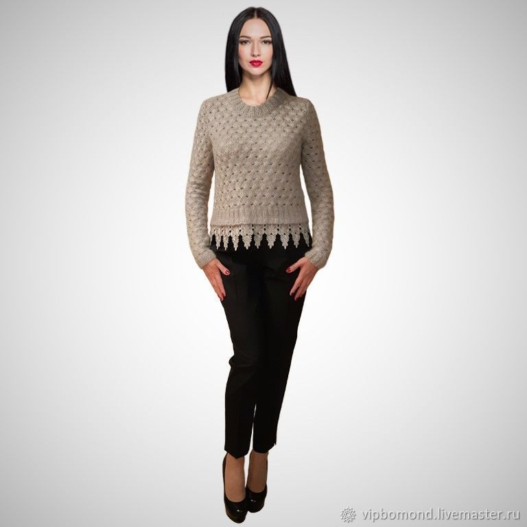 Jumper designer knitted silvery grey, Jumpers, Chelyabinsk,  Фото №1
