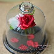 Цветы и флористика handmade. Livemaster - original item The red rose under the hood. Miniature. Beauty and the beast.. Handmade.