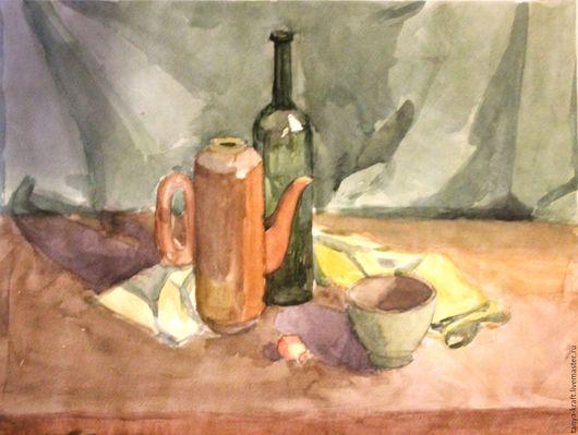 Натюрморт ручной работы. Ярмарка Мастеров - ручная работа. Купить натюрморт с чайником и бутылкой. Handmade. Оливковый, Живопись, бутылка, чайник