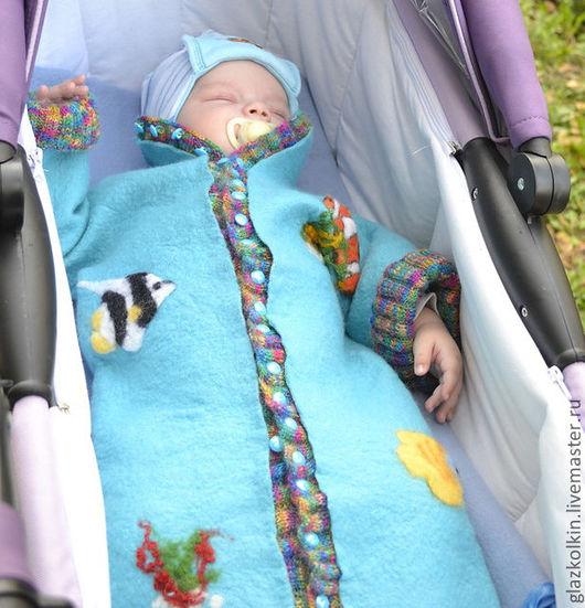 Для новорожденных, ручной работы. Ярмарка Мастеров - ручная работа. Купить Детский комбинезон-конверт (трансформер). Handmade. Рисунок, войлок