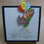Открытки ручной работы. Ярмарка Мастеров - ручная работа Клоун, летящий на праздник. Handmade.
