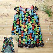 Платья ручной работы. Ярмарка Мастеров - ручная работа Платье полное котов) платье сарафан для девочки. Handmade.