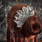 Украшения handmade. Livemaster - original item Hair comb with stone, agate, aqua chalcedony