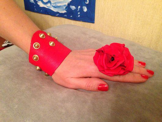 Кольца ручной работы. Ярмарка Мастеров - ручная работа. Купить Кольцо с цветком из кожи ярко-красное. Handmade. Кольцо