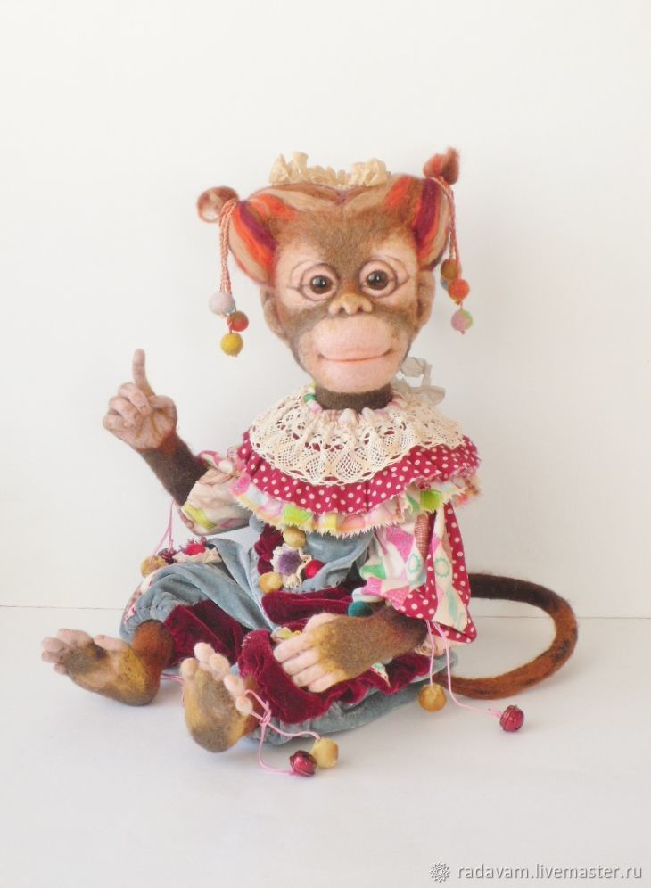 Валяная обезьянка Марточка, Войлочная игрушка, Шаховская,  Фото №1