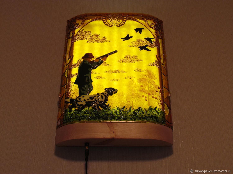 """Освещение ручной работы. Ярмарка Мастеров - ручная работа. Купить """"Охота на уток"""" ночник-светильник. Handmade. Фьюзинг, настенный светильник"""