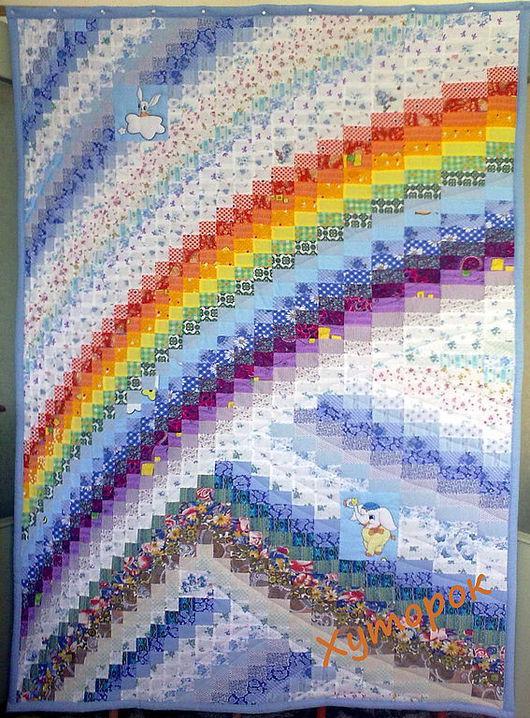 """Летнее лоскутное одеяло """"Радуга"""" (для примера, см. описание)"""