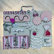 Бизиборды ручной работы. Ярмарка Мастеров - ручная работа Бизиборд серо-розовый. Handmade.