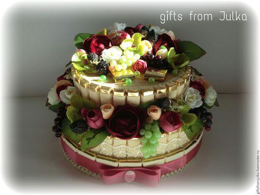 """Букеты ручной работы. Ярмарка Мастеров - ручная работа. Купить Торт из конфет """" Камелия"""". Handmade. Разноцветный, шоколад"""