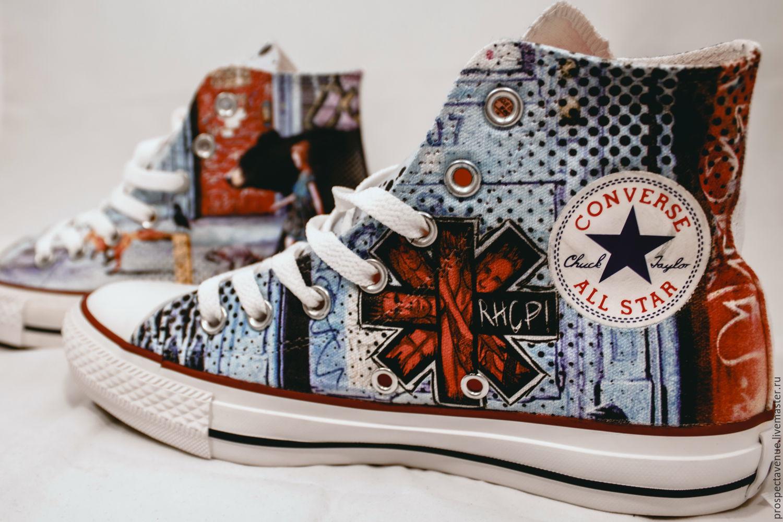 5612f3f38d7c Обувь ручной работы. Ярмарка Мастеров - ручная работа. Купить Высокие кеды  Converse «Red ...