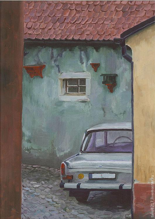 """Город ручной работы. Ярмарка Мастеров - ручная работа. Купить Кртина """"Ретро авто в Чешском дворике"""", холст, масло. Handmade."""