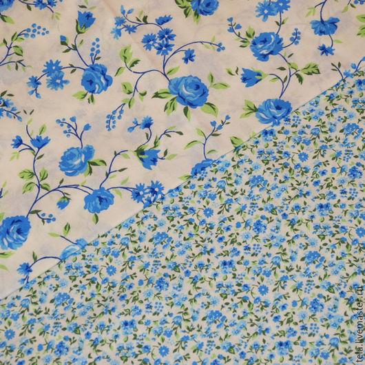 Голубые цветы на белом фоне. Поплин.  Хлопок 100%. Ткань для шитья, рукоделия.  Набор есть в наличии.