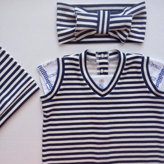 Одежда ручной работы. Ярмарка Мастеров - ручная работа. Купить Комплект для девочки (ромпер, шапочка, повязка). Handmade. Лучшее для новорожденных