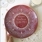 Посуда handmade. Livemaster - original item interior plate with the metric for a wedding or anniversary. Handmade.
