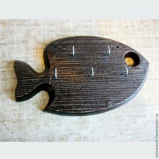 """Прихожая ручной работы. Ярмарка Мастеров - ручная работа. Купить Ключница """" Рыба """". Handmade. Коричневый, резьба по дереву"""