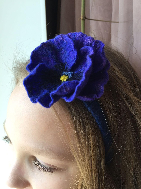 Headband for girls blue with viola, Headband, Korolev,  Фото №1