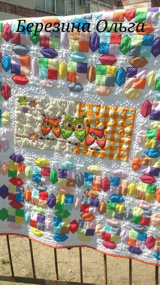 """Пледы и одеяла ручной работы. Ярмарка Мастеров - ручная работа. Купить Покрывало """"Совы и звезды"""". Handmade. Пэчворк, детям, интерьер"""