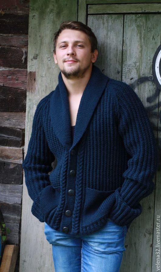 """Для мужчин, ручной работы. Ярмарка Мастеров - ручная работа. Купить Пуловер мужской """"Стиль"""". Handmade. Тёмно-синий"""