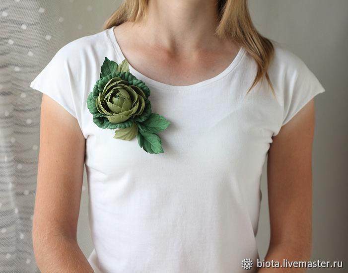 Роза зеленая из ткани, брошь оливковая крупный цветок на зажиме, Брошь-булавка, Москва,  Фото №1
