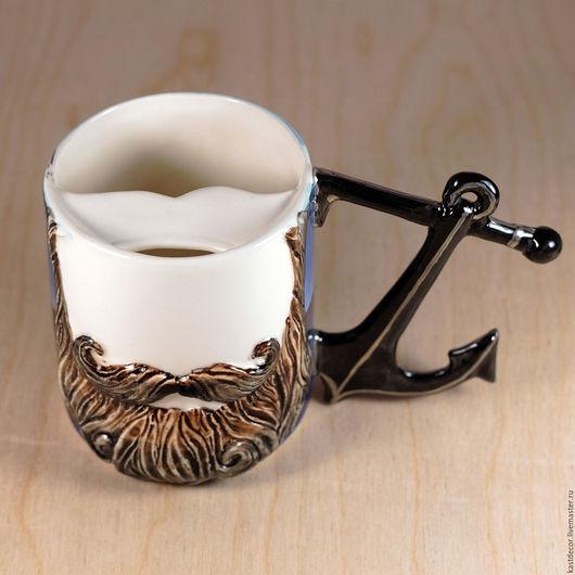 """Кружки и чашки ручной работы. Ярмарка Мастеров - ручная работа. Купить Чашка для усов """"Моряк. Ночь"""" фарфоровая. Handmade."""