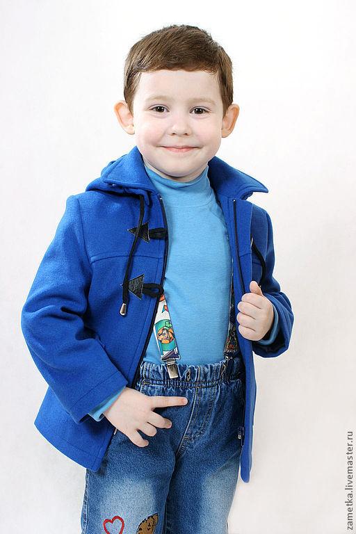 Пальто для мальчика, рост 104, размер 56(цвет:синий).             Пальто достойное настоящего маленького мужчины! Строгое полупальто из пальтовой ткани «Велюр» темно-синего (или василькового цвета),