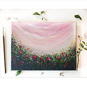 Картины ручной работы. Ярмарка Мастеров - ручная работа Интерьерная картина летние цветы красные цветы красные пионы. Handmade.