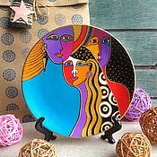 Посуда ручной работы. Ярмарка Мастеров - ручная работа Декоративная тарелка Сновидение 18 см ручная роспись. Handmade.