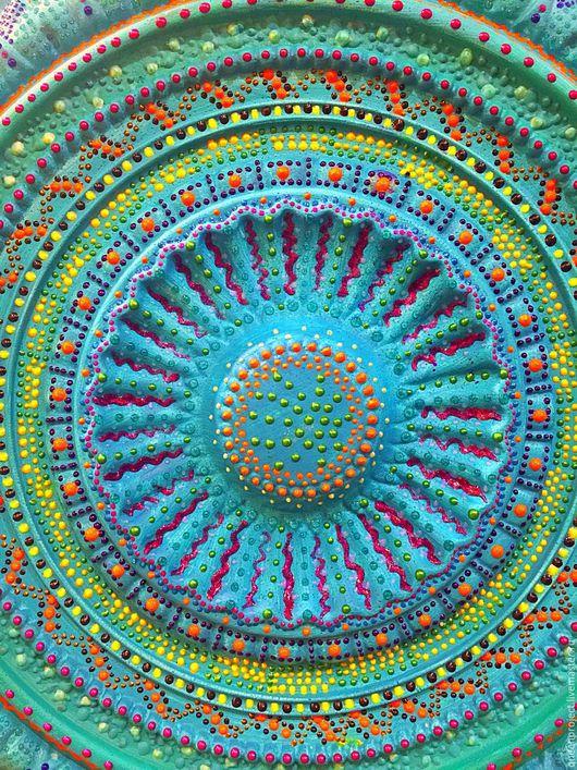 Абстракция ручной работы. Ярмарка Мастеров - ручная работа. Купить Панно настенное, точечная роспись, диаметр 66 см. Handmade.