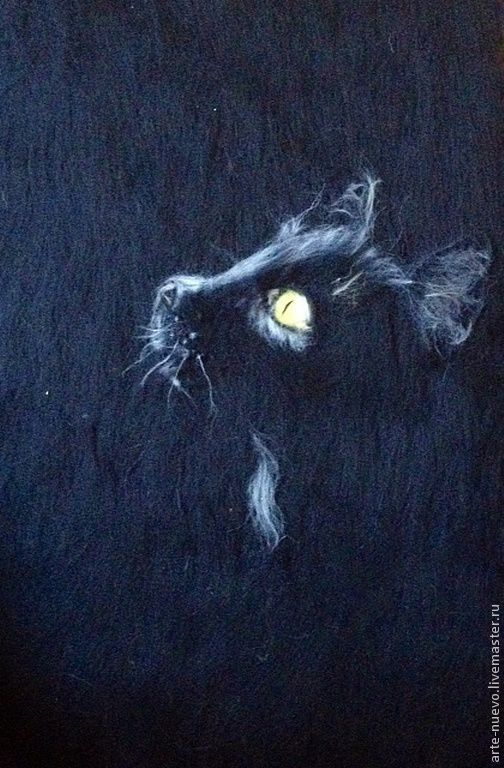 """Животные ручной работы. Ярмарка Мастеров - ручная работа. Купить Картина из шерсти """"Лаконичность"""". Handmade. Чёрно-белый, кошка"""