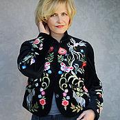 Одежда handmade. Livemaster - original item Velvet jacket with hand embroidery
