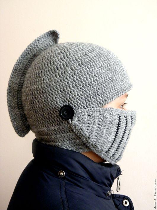"""Для мужчин, ручной работы. Ярмарка Мастеров - ручная работа. Купить Шапка """"Шлем рыцаря"""". Handmade. Серый, шлем"""