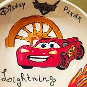 Посуда ручной работы. Ярмарка Мастеров - ручная работа Детская тарелочка с героем любимого мультика Тачки Молния Маквин. Handmade.