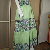 Одежда ручной работы. Ярмарка Мастеров - ручная работа Юбка 44-52 салатовая штапель. Handmade.