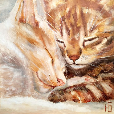 Pictures and panels handmade. Livemaster - original item Oil painting sleeping cats, kittens romance Warm stories about the main thing. Handmade.