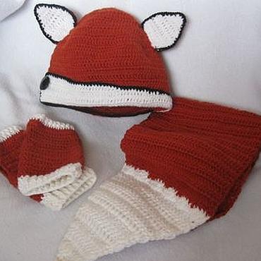 Works for children handmade. Livemaster - original item KIT FOX hat, scarf, mitts, knitted demi-season. Handmade.