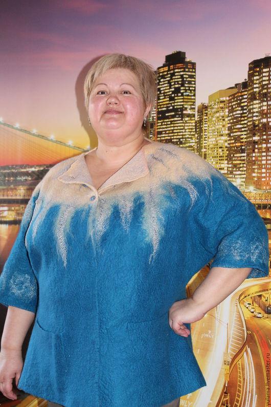 Пиджаки, жакеты ручной работы. Ярмарка Мастеров - ручная работа. Купить Валяный жакет. Handmade. Морская волна, жакет валяный