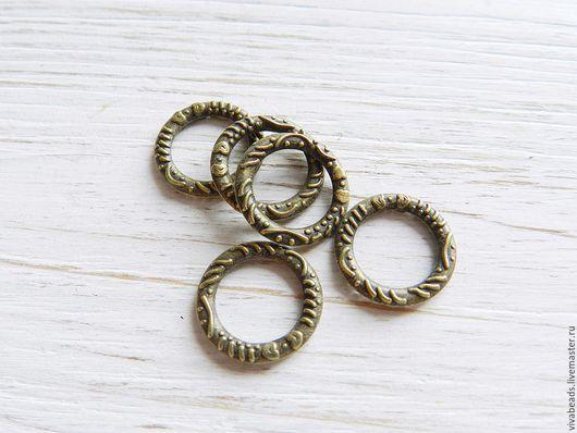 Коннектор металлический для украшений Кольцо, размер  14,5x2 мм цвет БРОНЗА,  материал - сплав металлов, не содержит свинца и никеля (арт. 2224)