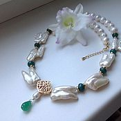 Украшения handmade. Livemaster - original item A necklace of pearls with chrysoprase
