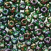 Материалы для творчества handmade. Livemaster - original item 10 grams of 10/0 seed Beads, Czech Preciosa 51150 Premium green rainbow. Handmade.
