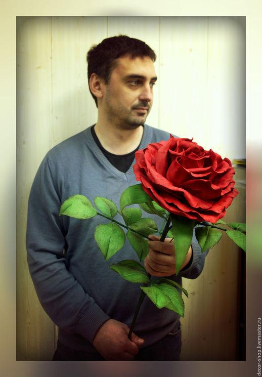 Цветы ручной работы. Ярмарка Мастеров - ручная работа. Купить Огромная роза из фоамирана мастер класс. Handmade. Ярко-красный