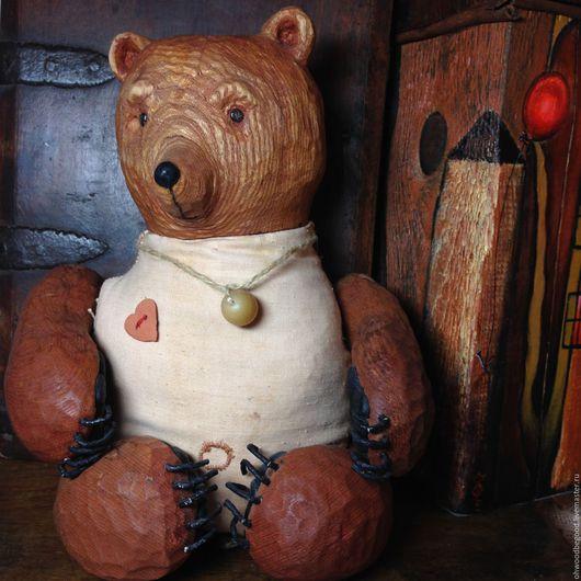 Игрушки животные, ручной работы. Ярмарка Мастеров - ручная работа. Купить Медведь Вахо авторская кукла из дерева/ мишка деревянный ручная работа. Handmade.