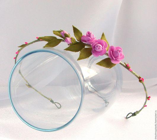 """Диадемы, обручи ручной работы. Ярмарка Мастеров - ручная работа. Купить Венок """"Нежный"""". Handmade. Розовый, нежно розовый"""
